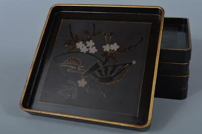 K7376: Japanese Lacquer ware OLD WOODEN TRAY/Ornamental plate 5pcs