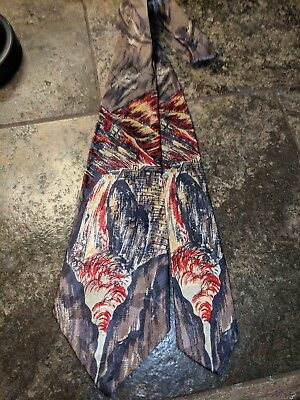 1940s 1950s GREAT PAINTED WATERFALL MTNS YELLOWSTONE? SWING MOB ROCKABILLY TIE