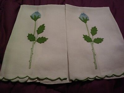 """2 Blue Rose Madeira Embroidered and Applique Linen Hand Towels 20 1/2"""" by 14"""""""