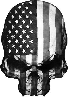 Skull Reverse United States of America USA Flag Car Motorcycle Decal Sticker BW