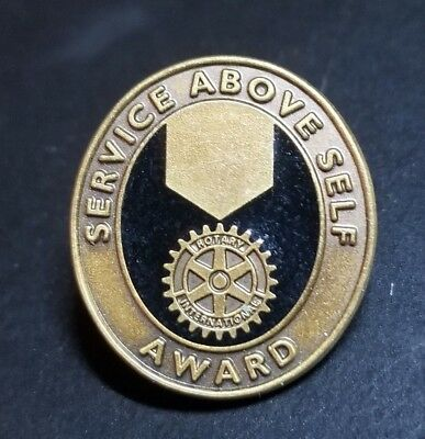 "RARE Bronze metal Rotary International ""Service Above Self"" Award Lapel Hat Pin"