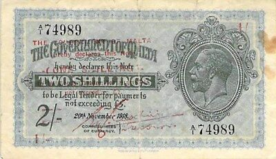 Government Of Malta 1 Shilling Note 1940 On 2 Shillings 1918 P-15 (Tear)