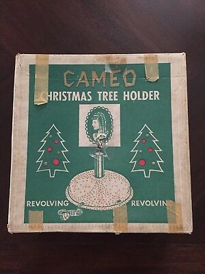 Vintage Christmas Revolving Aluminum Tree Up Stand With Music, Box Mid Century