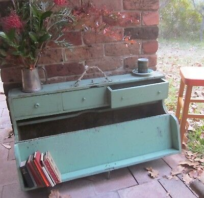 Antique/vintage rustic industrial painted wooden box/trunk/coffee table