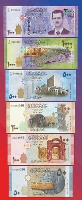 SYRIA full banknotes set of 50 100 200 500 1000 2000 LIRA 2009 2013 2015 Syrie