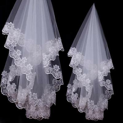 Lace Wedding Veil White or Ivory Short 1 Layers Bridal Veil NEW
