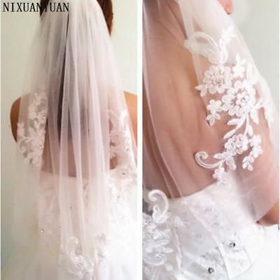 Soft Tulle Diamond Waist-Length Veil Short Fingertip Wedding Bridal Accessori...