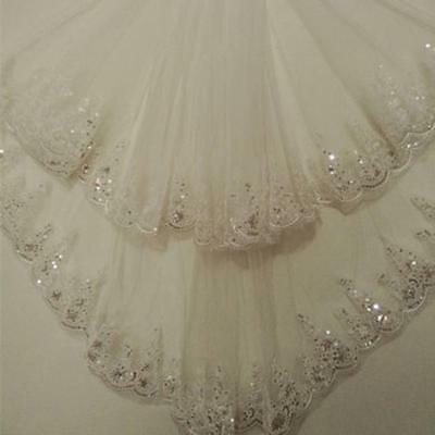 1.5 Meters Long Lace Elegant Tulle Two-Layer Wedding Bridal Veil With Comb