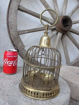 """Vintage Hanging Brass Bird Cage Swing Perch Pet Feeder Bowls Total Tall 11,5"""""""
