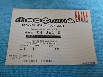 Madonna Drowned World Tour ticket stub Earls Court 4th July 2001 B41 RH S38