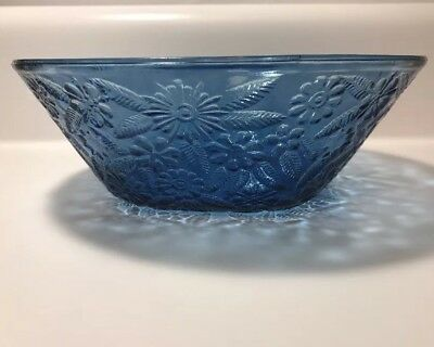 "Indiana Pineapple Floral Blue Bowl 7.5"" 1970's Reissue"
