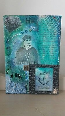 Unique handmade & embellished 3D mixed media art canvas - 'He Loved the Sea'