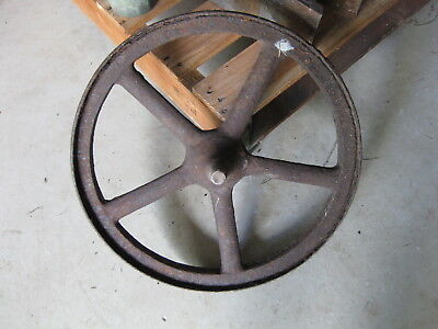 Antique Cast Iron Wheel 40.5cm  - Garden Display; Antique Wheelbarrow