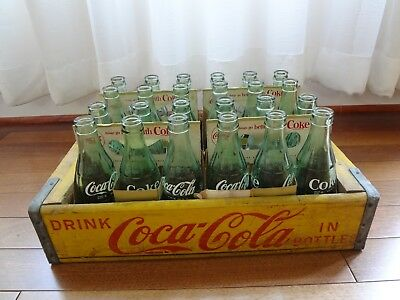 Vintage Coca Cola 24 Bottles from 16 Factories, 6 1/2 oz  W/Wood Case