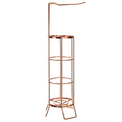 Rose Gold Free Standing Bathroom Toilet Roll Holder Stand Rack Holds Extra Rolls