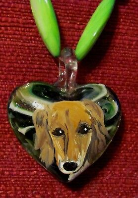 Saluki hand painted on Murano glass heart shaped pendant/bead/necklace