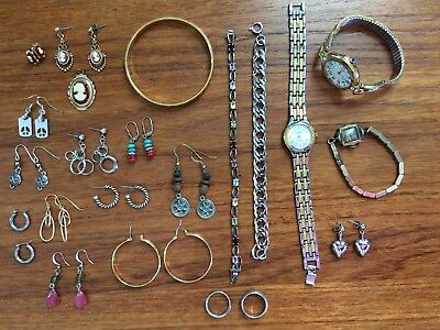 Vintage Lot Of Mixed Jewelry~Monet Bracelet, Rings, Necklaces, Earrings, Watches