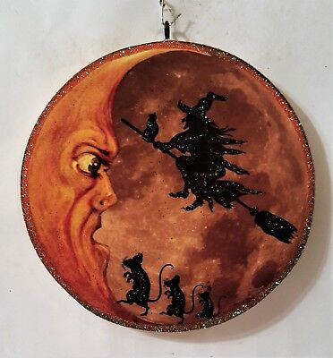 MOON w/ FLYING WITCH & DANCING RATS  * Glitter HALLOWEEN ORNAMENT * Vtg Img