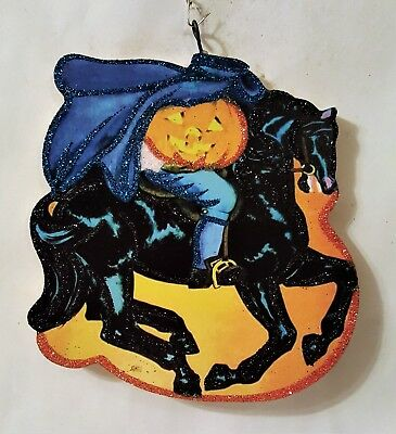 HEADLESS HORSEMAN, BLACK HORSE, JOL PUMPKIN Glitter HALLOWEEN ORNAMENT * Vtg Img