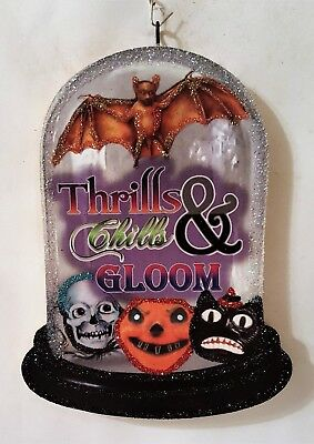 BAT, SKULL, CAT, JOL, THRILLS, CHILLS, GLOOM Glitter HALLOWEEN ORNAMENT  Vtg Img