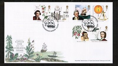 GB 16th August 2018 Captain Cook set on Royal Mail FDC with Pictorial Postmark