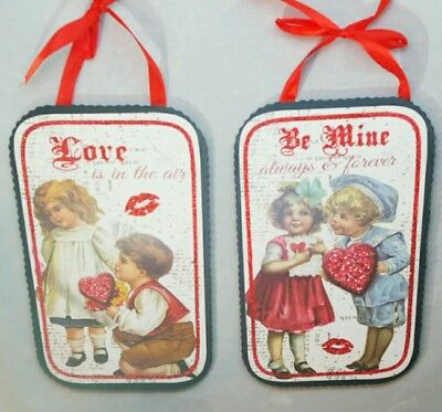 Valentines Day Be Mine Love Is In Air Vintage Inspire Wood Sign Set 2 Decor 8x5""