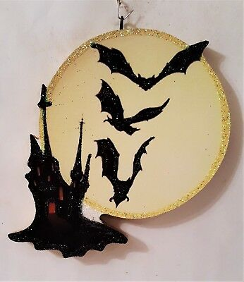 HAUNTED HOUSE, FULL MOON, BATS FLYING * Glitter HALLOWEEN ORNAMENT  Vtg Img