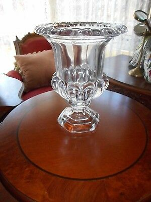 Magnificent French antique heavy crystal footed vase (Medici)