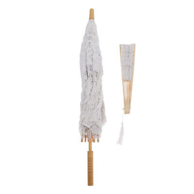 Lace Flower Vintage Umbrella With Lace Bamboo Hand Fan Set Dance Props White