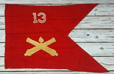 Original WWII US Guidon 13th Field Artillery Battalion Unit Flag 24th Inf Div