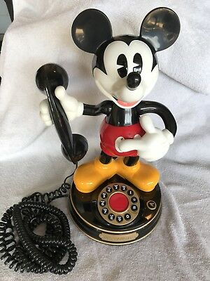 Disney Mickey Mouse Telephone Vintage  Animated Talking TeleMania Phone - Works