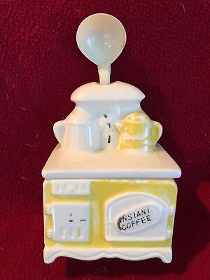 Vintage Ceramic Old Yellow Stove Instant Coffee tea bag Jar Container