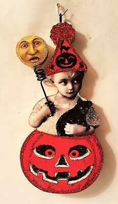 VICTORIAN CHILD in JOL PUMPKIN w MOON WAND  Glitter HALLOWEEN ORNAMENT * Vtg Img