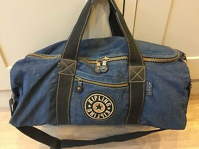 Large Blue Kipling Duffle Weekend Bag