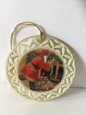Lenox Santa Hanging Christmas stocking Disc Ornament