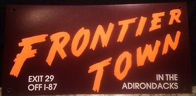 5 Vintage Frontier Town NY Cardboard Car Bumper Stickers (wire on type) - Mint!