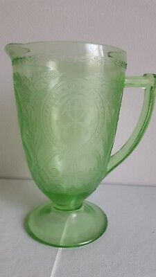 "Horseshoe Pattern Indiana Glass No. 612 9"" Water Pitcher Green"
