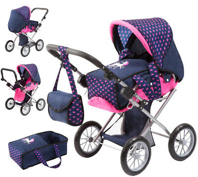 Bayer Design Puppenwagen City Star Einhorn (Blau-Pink)