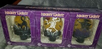 Halloween Night Light Set Of 3 new in box 3dCat, skeleton,  and witch