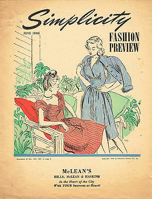 1940s Vintage Simplicity Fashion Prevue Sewing Pattern Flyer June 1946 8 pages