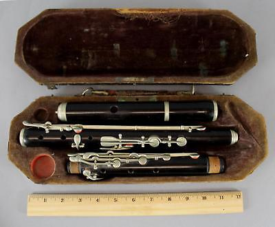 Antique circa-1900 4-Piece Ebony Flute & Case, Original Condition, NO Reserve!