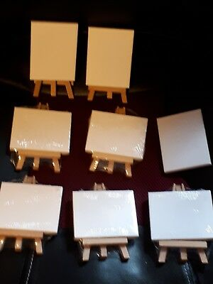 Job Lot of 7 Mini Canvas & Easel - 5 Wrapped - 2 Not. - Brand New