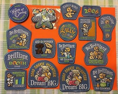 Lot Of 17 2003, 06 Unused Girl Scout Cookie Patches  15 Different  2 Duplicates