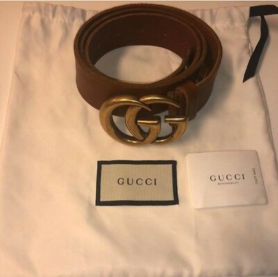 104c1ea6e0c GUCCI BROWN MARMONT Leather Belt with Gold Double GG Buckle ...