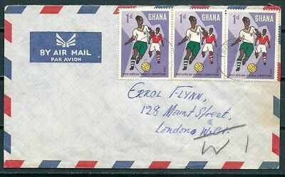 Ghana 1959 Cover, Posted To London, Strip Of Stamps Football Cup -Cag 220218