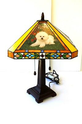 Danbury Mint Tiffany Style Bichon - Bichon Frise Lamp - Out of Production USED