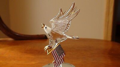 """Eagle """"Freedom Soars"""" Carries The USA Flag 22kt Gold Accents Glass Baron"""