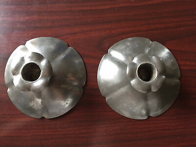 Beautiful antique pair of pewter candlesticks  made and SIGNED by L. Whitney