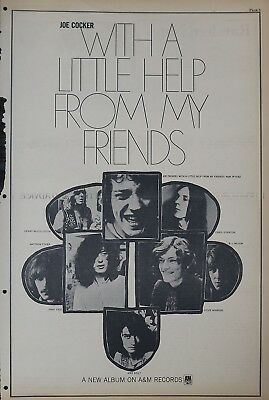 """Joe Cocker """"With a little help from my friends"""" Jimmy Page full-page US ad 1969"""