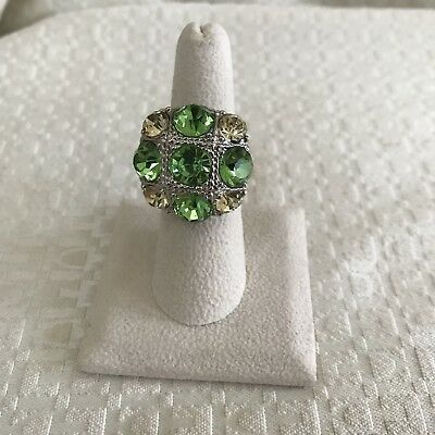 Chunky Silver Tone Yellow Green Rhinestone Adjustable Ring Sz 6 1/2 -7 1/2